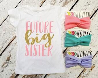 Glitter Big Sister T-Shirt with matching headband