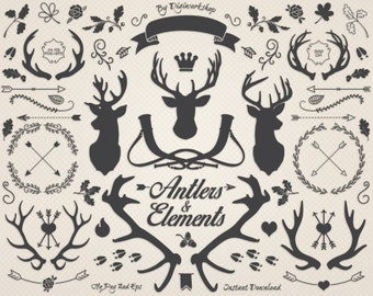 """Antlers clipart deer clip art """"Antler Silhouettes and Elements"""" a set of different deer antlers and other decorative and Christmas items"""