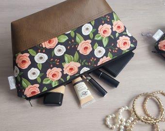 Waterproof Makeup Bag, Large Cosmetic Bag, Pink Floral Fabric Bag, Toiletry Bag, Travel Bag, Brown Faux Leather, Vinyl