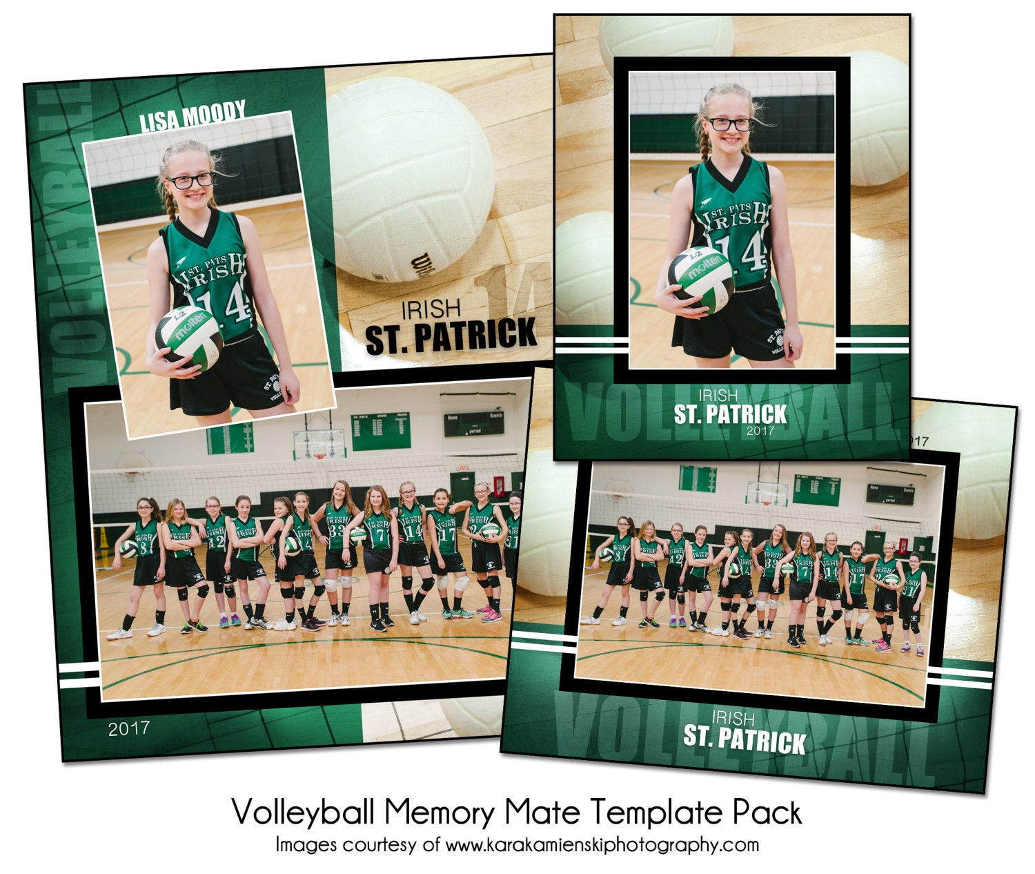 VOLLEYBALL PACK H - Sports Memory Mate Photo Templates - Digital ...