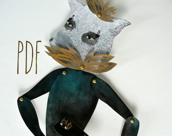 Boris The Bandit PDF Articulated Paper Doll / Hinged Beasts Series