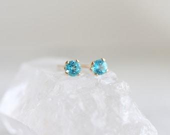 Paraiba topaz stud earrings, Gold post earrings, 3mm ear studs, Blue topaz ear studs, Blue green topaz earrings, Tiny gemstone earrings