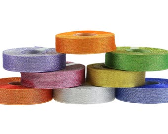 25 m fine deco band Glitter Ribbon 25 mm gift band with glitter, Color choice (colour: green)