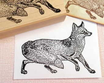 Fox Rubber Stamp - Handmade by Blossom Stamps
