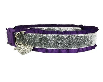 """Ruffle Silver Glitter 1"""" or 1.5"""" Purple Buckle or Martingale Style Dog Collar [Optional Ruffles & Heart Accessory]"""