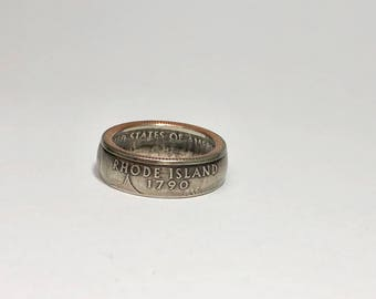 Rhode Island - Coin Ring - Coin Jewelry - Quarter Ring - Gift - State Wedding Ring - Husband - Wife - State Quarter Ring - Anniversary Gift