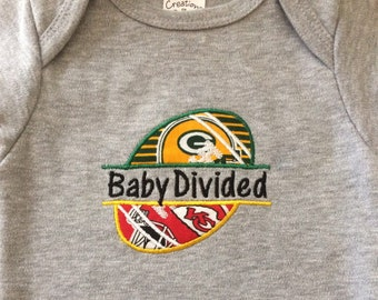 Baby Divided T-Shirt or onesie, Any team college or NFL