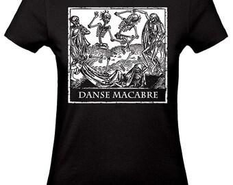 Death tshirt, DANSE MACABRE shirt,occult t-shirt,dark fashion,horror tshirts,black woman tshirt grey ink