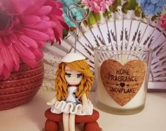 "Polymer clay doll photo holder ""Mathilde"""