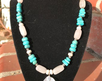 Turquoise and rose quartz beaded necklace ~ Electroplated pendant necklace ~Crystal necklace ~beaded necklace