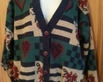Vintage 80s Heart Floral & Checkerboard Cabin Creek Cardigan Sweater Size M