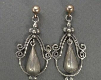 Sterling drop earrings 14K ball & post
