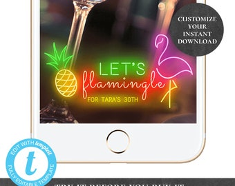Let's Flamingle Last Flamingle Snapchat Geofilter INSTANT DOWNLOAD Editable Bachelorette Hen Party Birthday Pool Pineapple Neon Filter PCFPS
