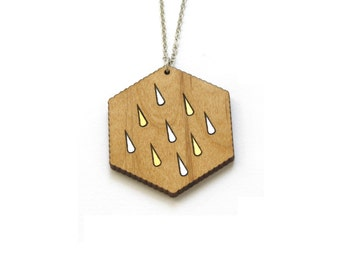 Wooden necklace, rain drop pattern, gold and silver color, collar with pendant, fairy geometric graphic style, dressy chic woman present