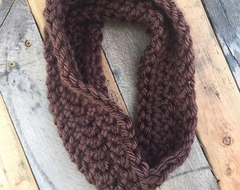 Crochet Brown Cowl, Gift For Her,