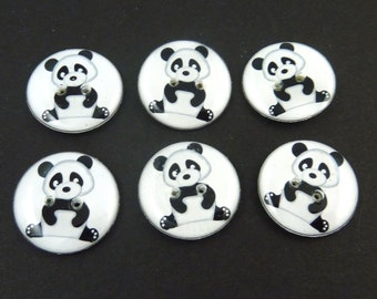 """6 Panda Buttons.  3/4"""" or 20 mm Sewing Buttons. Handmade By Me.  Washer and Dryer Safe.  Zoo animal Buttons."""