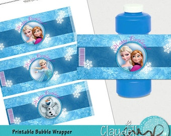 Frozen Winds Inspired Printable Bubble Bottle Wrapper - 300 DPI