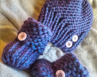 Iridescent Purple Knit Hat and Bootie Set