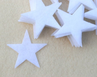 "50 Piece 2"" Die Cut Felt Stars, White"