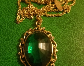 """Vintage Whiting Davis Victorisn Revival necklace huge faceted enerald glass crystal pendant, gold filled or plated on 21"""" link chain"""