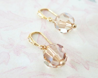 Eugenia - Golden Shadow Crystal Earrings, gifts for her, Simple Gold Bridesmaid Earrings, Bridal Jewelry, Gold Weddings, Champagne