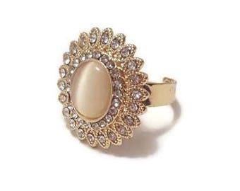 Cat Eye Ring - Adjustable Gemstone Ring - Adjustable Gold Stone Ring - Adjustable Gold Ring - Adjustable Stone Ring - Gold Boho Ring