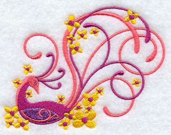 Flaming Bird and Flowers Embroidered Flour Sack Hand/Dish Towel