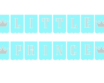 PRINTABLE Baby Shower, Little Prince BANNER, Baby Blue, Silver & White, Instant Download.