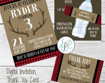 Buffalo Plaid Birthday Invitation, Lumberjack Birthday Invitation, Rustic Invitation, Lumberjack Thank You Card, Buffalo Plaid Water Bottle