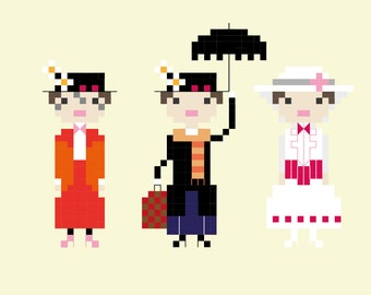 Mary Poppins Inspired Pixel Portrait Cross Stitch Pattern (PDF)