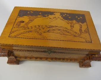 Vintage Hand Made Wood Box Lined