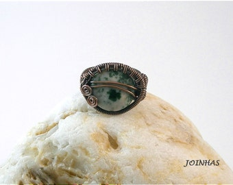 Copper Ring, Wire Wrapped Jewelry Handmade, Wrapped Green Ring, Copper Stone Ring, Wire Wrapped Ring, Green Wrap Ring, Coiled Wrapped Ring