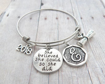 Personalized GRADUATION Gift, Graduation Bracelet, Class of 2018 Graduate She believed she could so she did Jewelry High school College grad