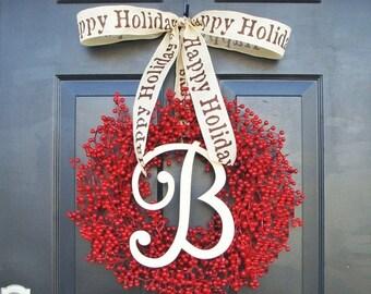 SUMMER WREATH SALE Monogram Berry Wreath- Holiday Wreath- Christmas Wreath- Christmas Decor- Valentine's Day Wreath- Holiday Wreath