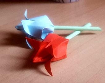 Set of 2 origami rose buds