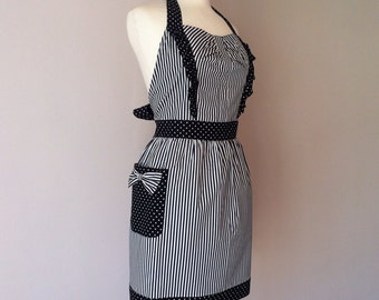 Retro apron side ruffles, Black and white striped fabric. 1950s vintage inspired, fully lined.