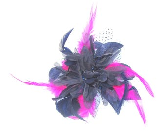 navy and hot pink hair comb, fascinator, weddings, races, special events