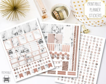 Printable Rose Gold and Marble Planner Stickers, Digital Download Marble Stickers and Printable Rose Gold Planner Stickers, Instant Download