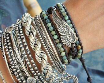 Hippie Wrap Bracelet, Modern Hippie Jewelry, Gypsy Bracelet, Gypsy Wrap Bracelet, Gypsy Jewelry, Leather Hippie Bracelet Boho Jewelry Style
