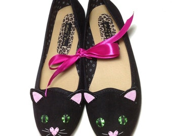 Black Pussy Cat Ballet Pump Shoes