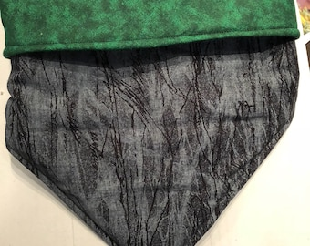 Reversible Snap Dog Bandana - Tree Branches and Green Tie Dye
