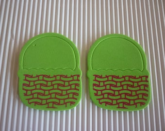 Easter basket foam, green and Red patterns sold in packs of 2.