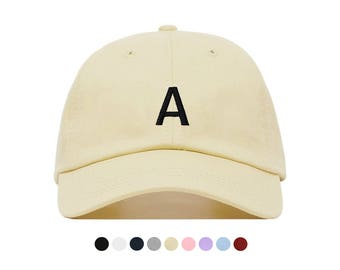 LETTER Baseball Hat, Embroidered Dad Cap, Monogram Alphabet Initial Customizable Hat, Unstructured Low-Profile, Adjustable Strap Back