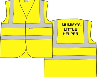 "Child Yellow Vests Printed ""MUMMY'S  LITTLE HELPER"" Reflective Waistcoat Hi Visibility"