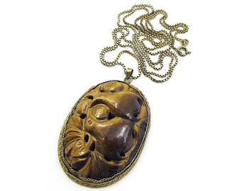 Chinese Tigers Eye Pendant Necklace, Chinese Export, Dove Bird, Gold Plated Metal, Sterling Chain, Longevity Symbol, Vintage Necklace