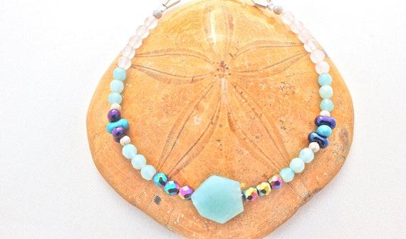 bracelet pierres fines et argent : amazonite, hématite arc en ciel, quartz rose