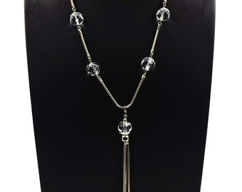 Large Faceted Bead And Silvertone Snake Chain With Tassel