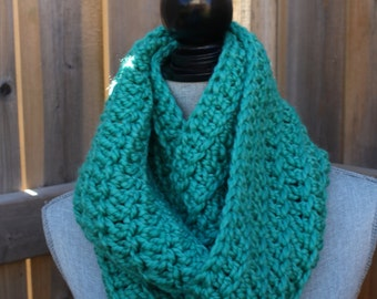 "Soft and Chunky 60"" Crochet Infinity Scarf in Sea Foam"