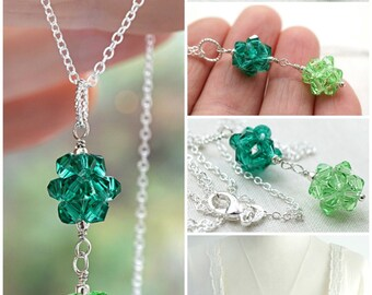 Mothers Day Gift Dainty St Patricks Day Necklace Sterling Silver Chain Tiny Crystal Double Ball Pendant Crystal Cluster Irish Green Two Tone