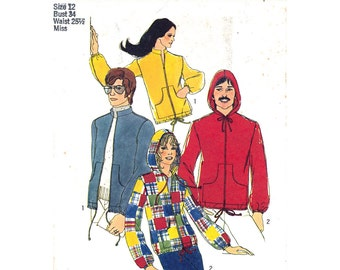1970s Hoodie Jacket Pattern Simplicity 9413 Bomber Jacket Hood or Stand-Up Collar Patch Pockets Zipper Womens Sewing Pattern Bust 34 UNCUT